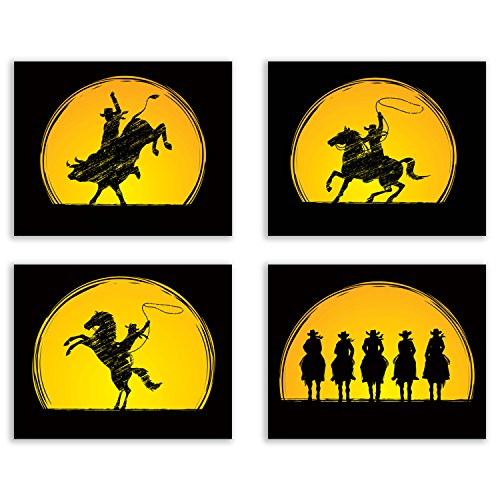 - Crystal Cowboy Rodeo Art Prints - Set of Four Horseback Silhouette Bull Riding Decor Wall Decor 8x10