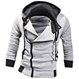 jeansian Men's Slim Fit Jacket Hoodie Shirts 8945 LightGray S