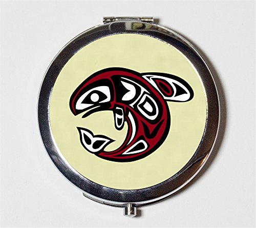 Haida Whale Compact Mirror Native American Totem Fish Pocket for Makeup Cosmetics by Fringe Pop