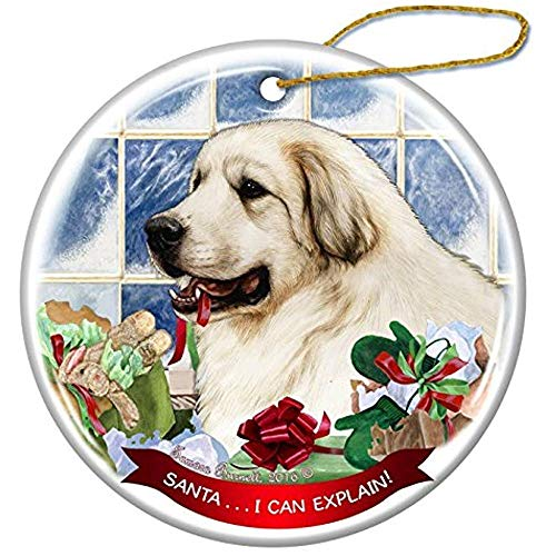 Cheyan Great Pyrenees Dog Porcelain Hanging Ornament Pet Gift Santa I Can Explain for Christmas Tree and Year ()