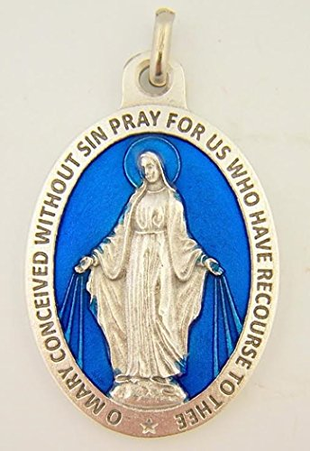 Grace Medal Pendant - Silver Toned Base Blue Enamel Blessed Saint Mary Miraculous Medal, 1 3/4 Inch