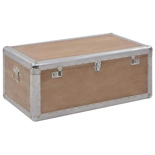 vidaXL Caja de Almacenaje Madera Maciza de Abeto 91x52x40cm Marrón Mobiliario: Amazon.es: Hogar