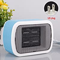 Mini Electric Fan Heater, Mini Stereo Heaters Household Desktop Heating Fan, 220V 500W US Plug Ceramic Space Winter Warm Heater Home Appliance (blue)