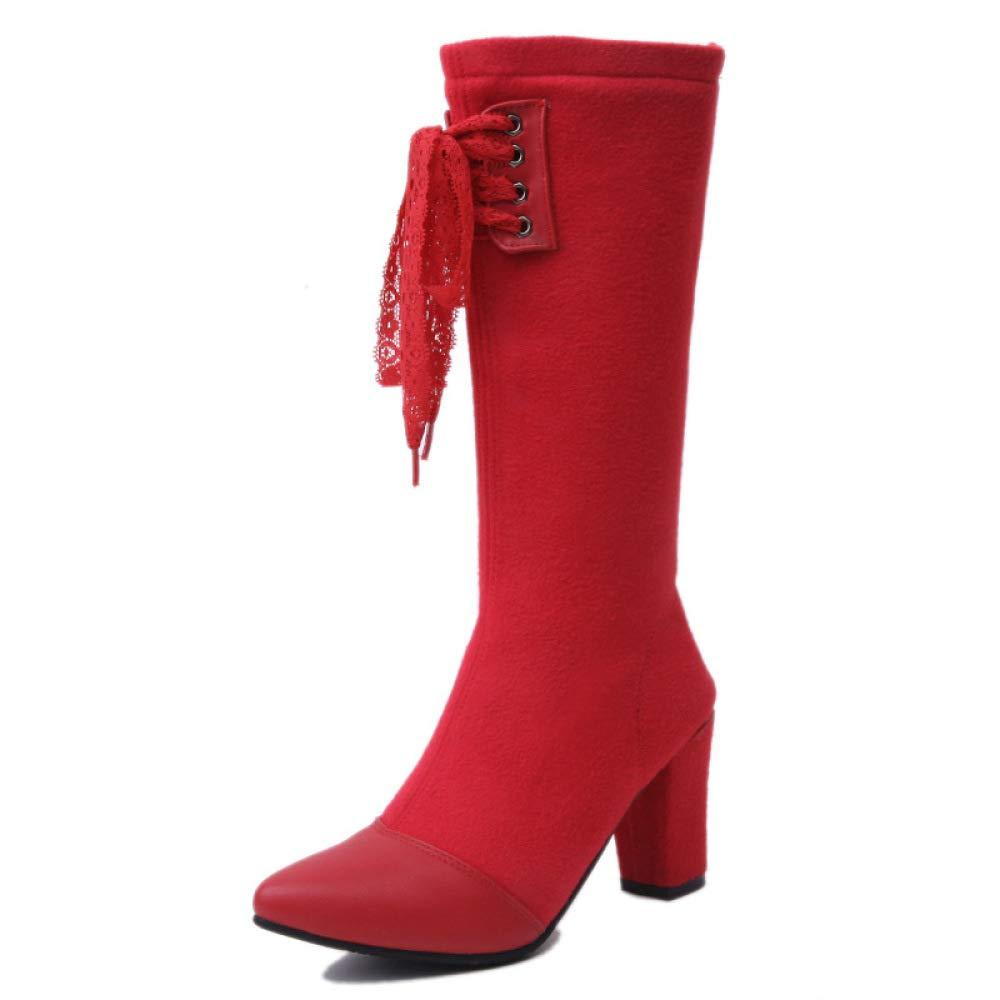 QINGMM Women Over The Knee Boots 2018 Winter High Heel Thick Heel Boots