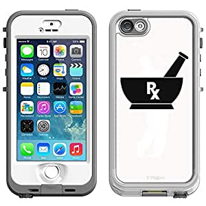 Skin Decal for LifeProof Nuud Apple iPhone 5 Case - Silhouette Pharmacist Pharmacy RX on White