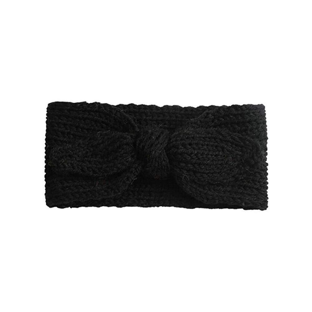 NUWFOR Cute Kids Baby Girls Toddler Knit Turban Hair Band Headwear Headband Accessories Black