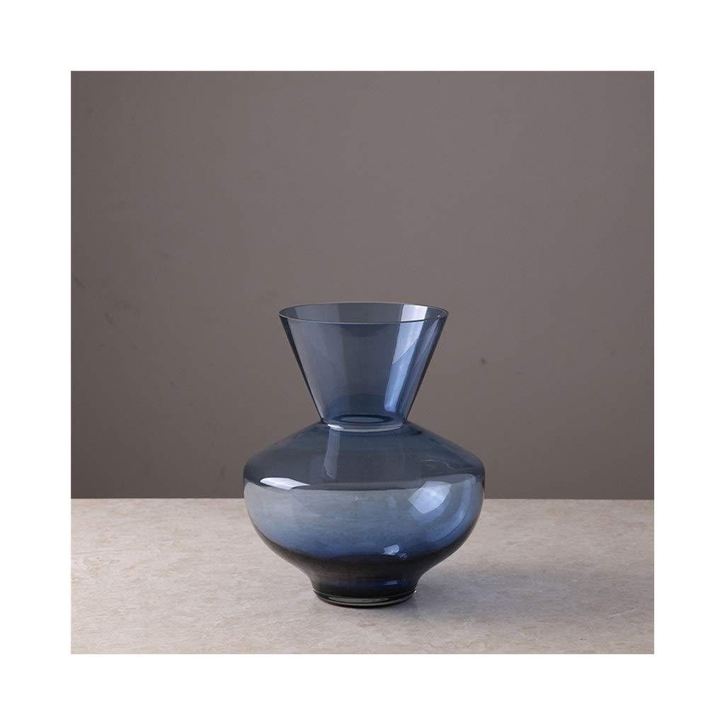 幾何学的なガラス花瓶北欧ミニマリストのダイニングテーブル広い口透明な花瓶 (Edition : B) B07T4LTFM8  B