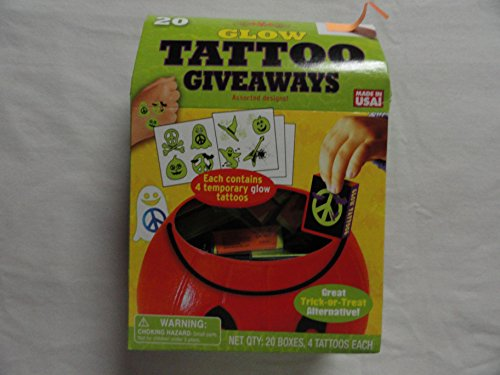 20 Glow Tattoo Giveaways - 20 Boxes of 4 Tattoos Each (Zombie Temporary Tattoos)