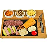Picnic at Ascot Original Bamboo & Slate Cheese/Charcuterie Board - Includes 3 Ceramic Bowls with Cheese Knife- Designed & Quality Checked in the USA