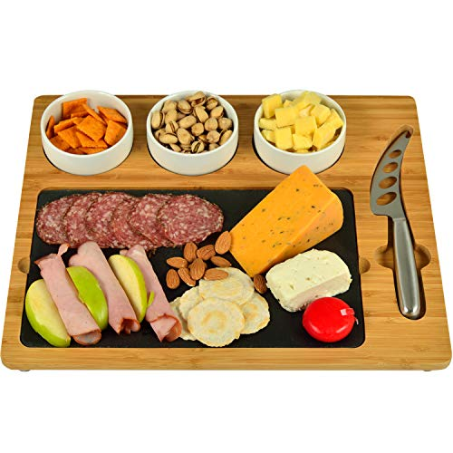 Picnic at Ascot Bamboo & Slate Cheese/Charcuterie Board - Includes 3 Ceramic Bowls & Cheese Knife- Patent Pending - Designed & Quality Checked in the USA (Server Chip)