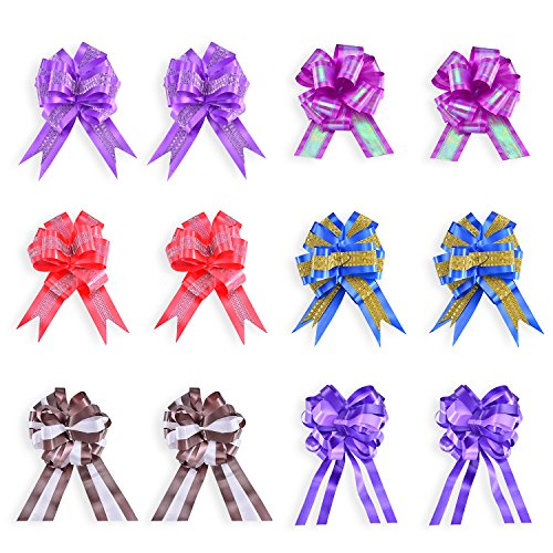 12 Pieces Christmas Gift Wrap Ribbon Pull Bows (5