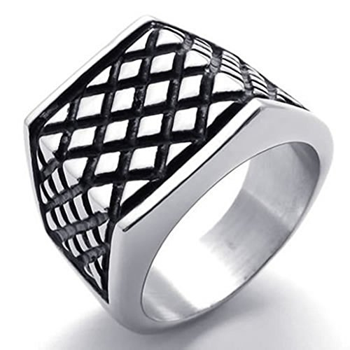 [Bishilin Stainless Steel Fashion Men's Rings Fashion Black Silver Size 9] (Sauron Costumes)