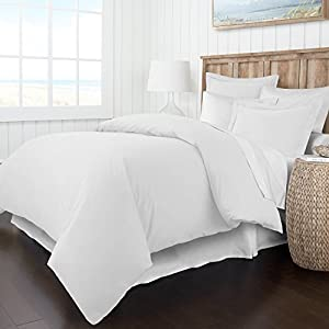 Italian Luxury Soft Brushed 1500 Series Microfiber Duvet Cover Set - Hotel Quality & Hypoallergenic with Zippered Closure & Matching Shams -Full/Queen - White