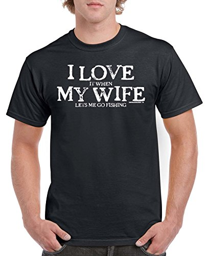 Men's I LOVE MY WIFE...FISHING Black T-shirt (X Large) (Tee Mens Fishing)