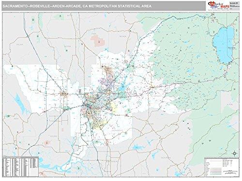 MarketMAPS Sacramento-Roseville-Arden-Arcade, CA Metro Area Wall Map - 2018 - ZIP Codes - Laminated - 64 x 48 inches ()