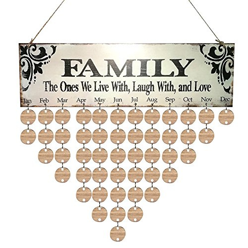 Smdoxi_home Christmas Ornament Pendant Decor Accents Crafts Wood Birthday Reminder Board Birch Ply Plaque Sign Family &Friends DIY Calendar