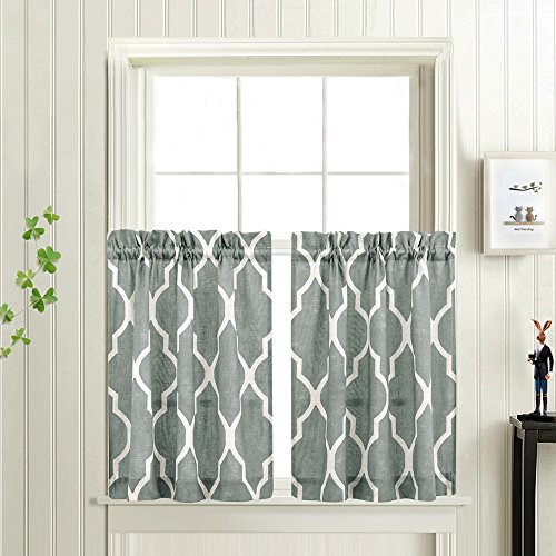 Printed Tier Curtains for Kitchen Moroccan Tile Pattern Short Window Curtains 36 inches Long Quatrefoil Café Curtains Lattice Kitchen Window Curtain Sets for Bathroom (1 Pair, Charcoal Grey) (Kitchen Window Sets Curtain)