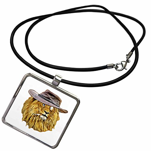 3dRose Sven Herkenrath Animal - Hipster African Lion with Hut and Smoking - Necklace With Rectangle Pendant - Pictures African Hut