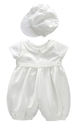 8c3726fa3 ShineGown Christening Outfit for Baby Boys Short Romper Bodysuit with Hat Baptism  Gown Infant Communion Pageant Clothes 0-24months: Amazon.co.uk: Clothing