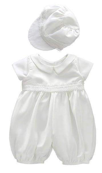 ShineGown - Ropa de Bautizo - Onesie - para bebé niño Blanco Blanco 0-3