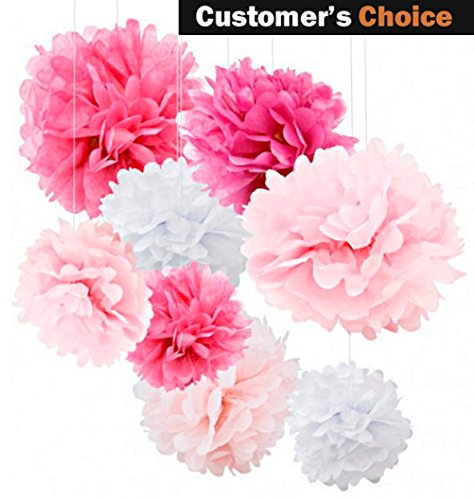 18pcs Tissue Paper Flowers - Tissue Paper Pom Pom Set - Add Color To Your Party With These Pink Party Decorations - Tissue Pom Poms Are Best For Baby Shower & Wedding - Paper Pom Poms - Pink Set