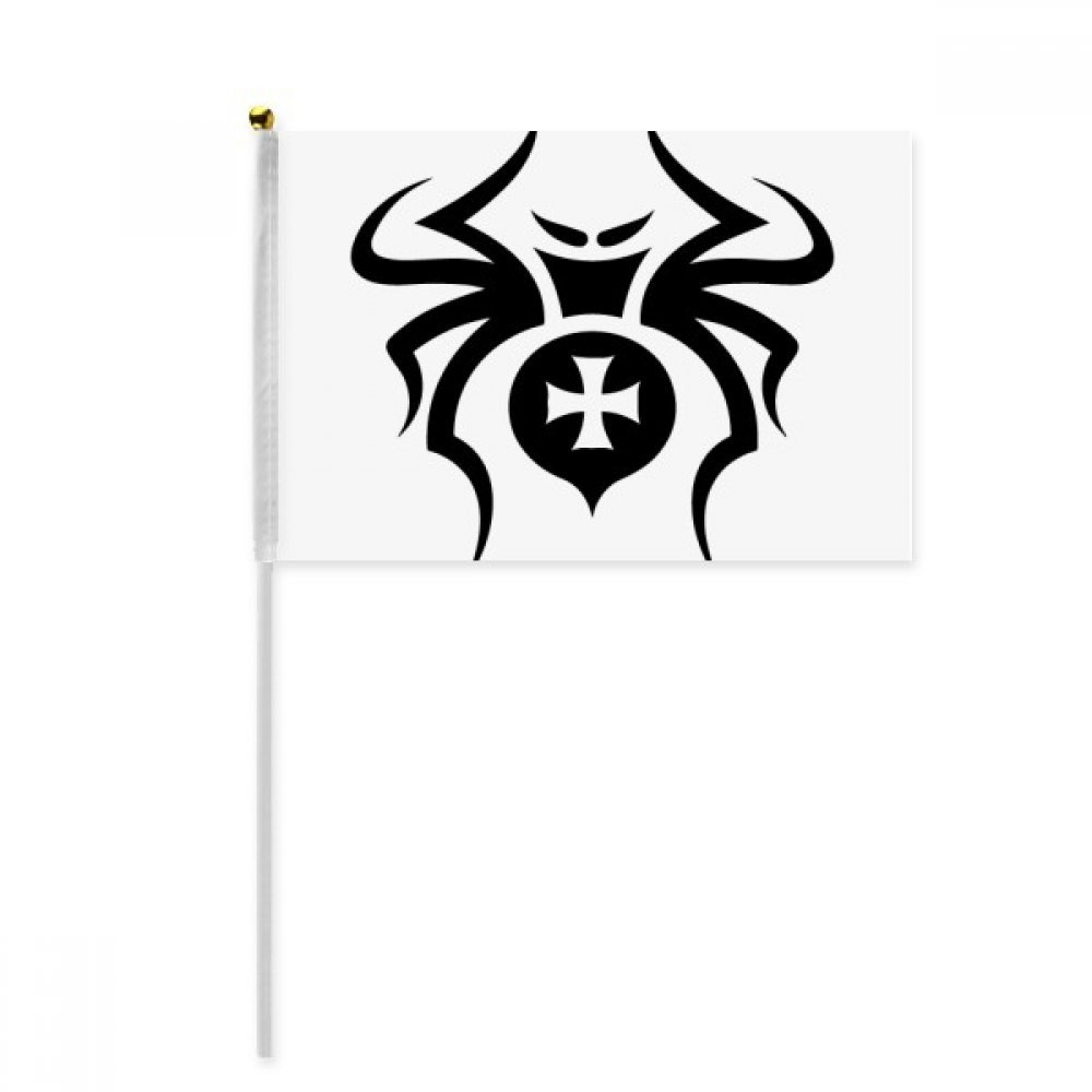 Black Insect Spider Pattern Illustration Hand Waving Flag 8x5 inch Polyester Sport Event Procession Parade 4pcs