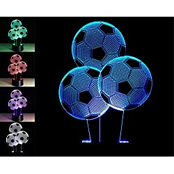 W-ONLY YOU-J Creative Gifts Night Light 3 Soccer 3D Lamp USB Light Abstract Colorful 3D Lamp USB Visual Light?Control /Touch?