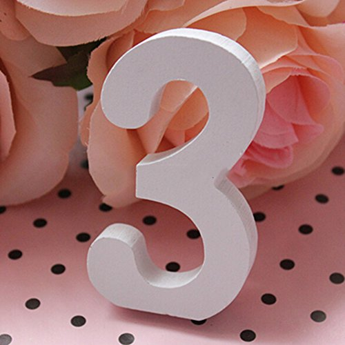 Messagee DIY Wooden Arabic Numerals Figure Digit Plaque Wall Decorate Children Education Brithday Party Anniversary ()
