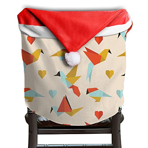 Origami Paper Crane Christmas Chair Covers Red For Back Covers Living Room Chair Covers For Christmas Santa Hat Chair Covers