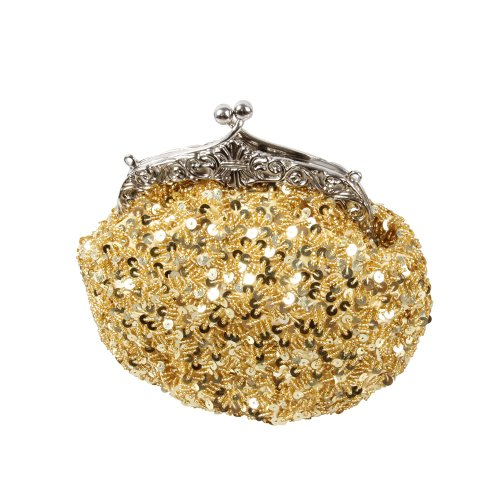 BMC Glamour Elegant Satin Beaded Bridal Sequin Vintage Cocktail Party Handbag-BRIGHT GOLD (Glamour Beaded Clutch)