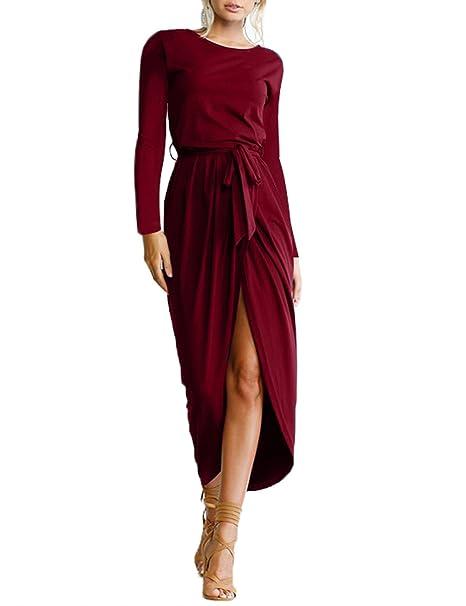 99691b6448f9 Abollria Donna Vestito Lungo Abito con Maniche Lunghe e Cintura Vestiti  Casual in Crepe Abiti Aderenti