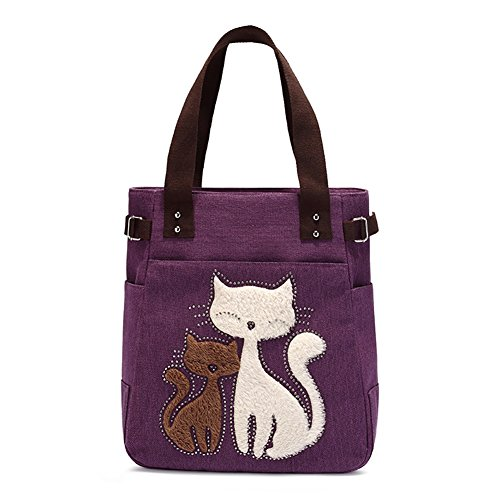 Jiquan Canvas Handbags for Women, Cartoon Cat Pattern Casual Shoulder Bag, Durable Fashion Zippered Tote Bag (Cartoon Pattern Canvas)
