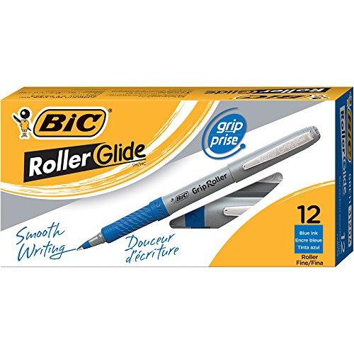 BIC Roller Glide Grip Roller Ball Pen, Fine Point (0.7 mm), Blue, 12-Count