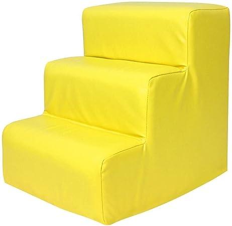 Viñedo Taburete de 3 Pasos para niños Escaleras para Perros pequeños Pasos a Prueba de Agua para sofá Escalera para escaleras de Mascotas para Camas Altas (Color : Yellow): Amazon.es: Hogar