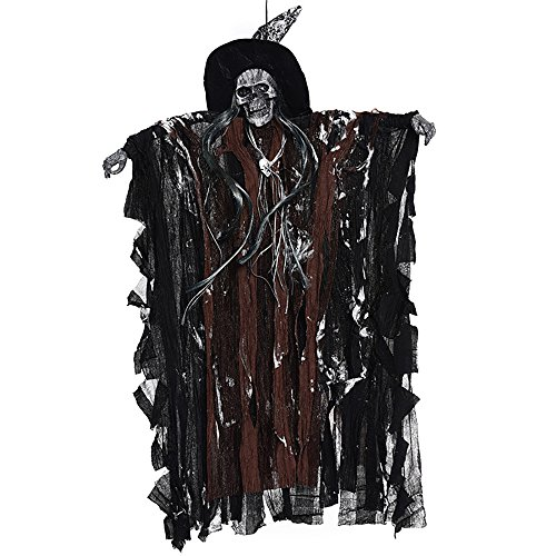YHOOEE Halloween Decoration Hanging Ghost Haunted House Party Props Voice Sound Control Scary Skull For Indoor Outdoor Garden With Glowing Red Eyes,Brown]()