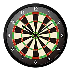 BYLE Non Ticking Battery Operated Decorative Creative Stylish Children'S Room Sports Darts Target Drive Ultra-Quiet Interior Wall Clock, 12 Inch, Black-Black Box,