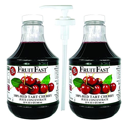 (Red Tart Cherry Juice Concentrate by FruitFast   64 Day Supply Non GMO Gluten Free 100% Cherry Juice Concentrate, 2-Pack   Includes Juice Dispenser Pump)
