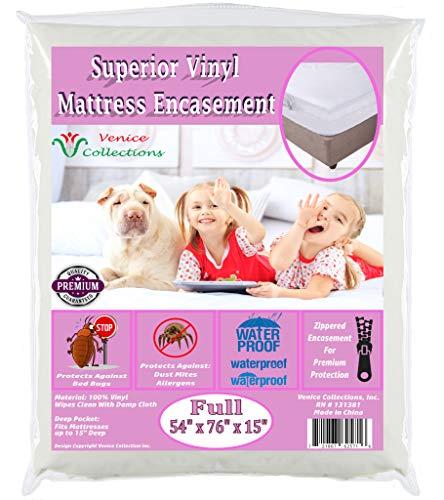 (v Superior Extra Heavy 8 Gauge Vinyl Mattress Protector Zippered Encasement Cover 100% Waterproof & Bed-Bug Proof Full)