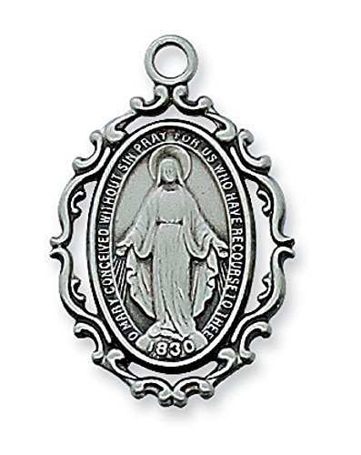 Religious & Catholic Ornate Antique Design, Deluxe Satin Silver Finished Pewter Pendant, Fancy 1