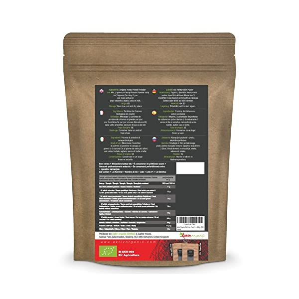 Aktiv Organic Hemp Protein Powder 500g | Raw, Certified Organic | Top Quality | Very finely ground | Mixes nice into smoothies and protein shakes