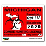 Michigan MI Zombie Hunting License Permit Red - Biohazard Response Team - Window Bumper Locker Sticker