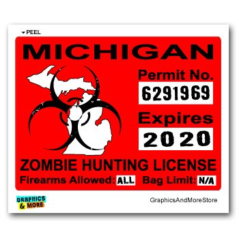 Michigan MI Zombie Hunting License Permit Red - Biohazard Response Team - Window Bumper Locker Sticker