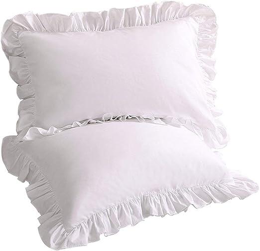 Size 2 Pieces Edge Ruffle Pillow Shams Only White Solid 26 X 26 Home Decore Linen 600-Thread-Count Egyptian Cotton Euro//European