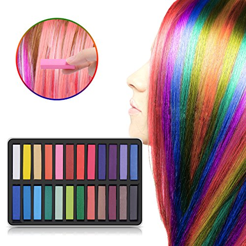 Ameauty Hair Chalk Set, 24 Hair Dye Colors Non-Toxic Washable Temporary Hair Chalk for Girls Kids Party - Kids Mar