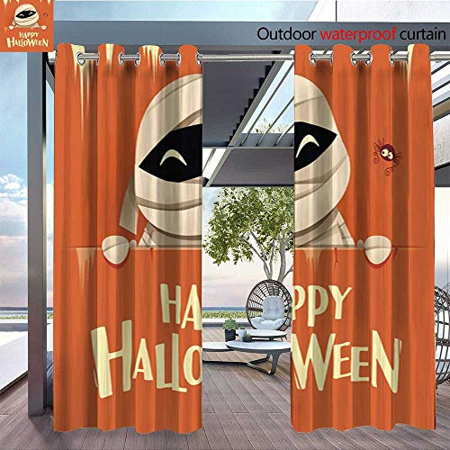 QianHe Outdoor Blackout Curtains Happy-Halloween-Mummy-with-Big-Signboard-Retro-Vintage-Orange-Background-.jpg Outdoor Privacy Porch