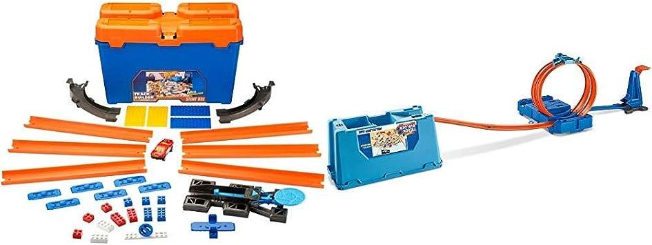 Hot Wheels Track Builder Caja de Acrobacias, Accesorios para Pistas de Coche (Mattel DWW95) + Track Builder, Caja Multiloopings, Accesorios para Pistas, (Mattel FLK90): Amazon.es: Juguetes y juegos