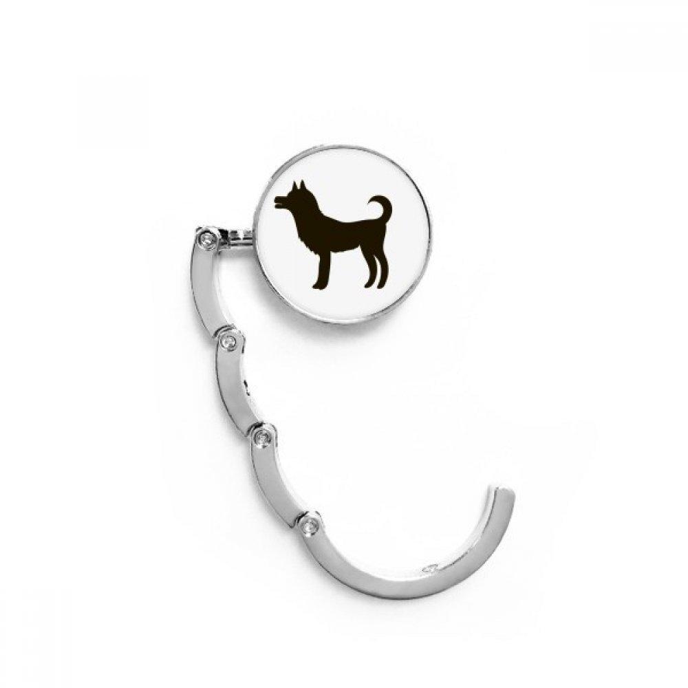 Black Dog Cute Animal Portrayal Table Hook Folding Bag Desk Hanger Foldable Holder