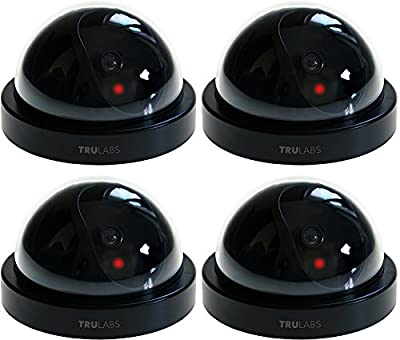 TruLabs Dummy Fake Security Camera CCTV Dome Surveillance [4-PACK] by TruLabs