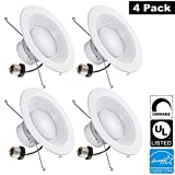 Luxrite LR24820 (4-Pack) 15W 5/6 Inch LED Retrofit Downlight, 120W Equivalent, ENERGY STAR, Dimmable, Bright White 5000K, Recessed LED Ceiling Light, UL Listed
