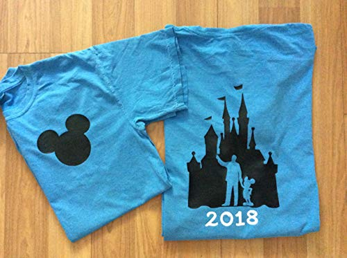 Handmade Disney Shirt/Mickey Mouse with monogram/castle with 2019 on back/personalized]()